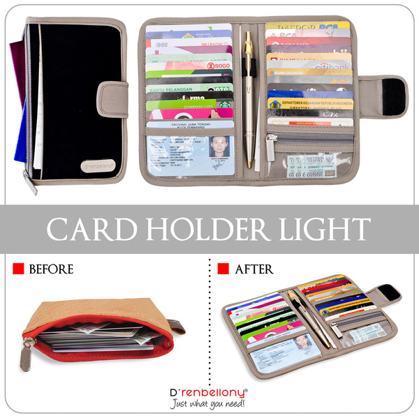 Card Holder Light D'renbellony (Dompet Kartu untuk Wanita & Pria Branded Dompet Organizer Wallet Keren) Black