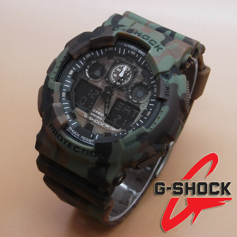 Casio G-Shock GA-100 Loreng (Black Green Brown)