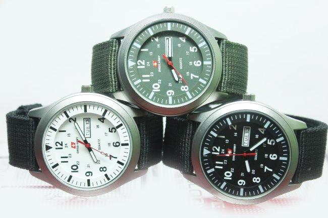 jam tangan swiss army kanvas (tanggal / hari)