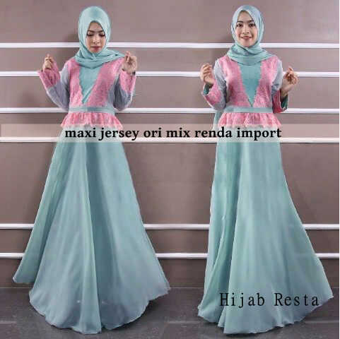 Hijab resta bahan jersey ori mix renda import+pasmina fit to L+