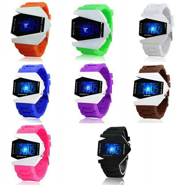Jam tangan pria - Jam LED airplane watch/ pesawat tempur