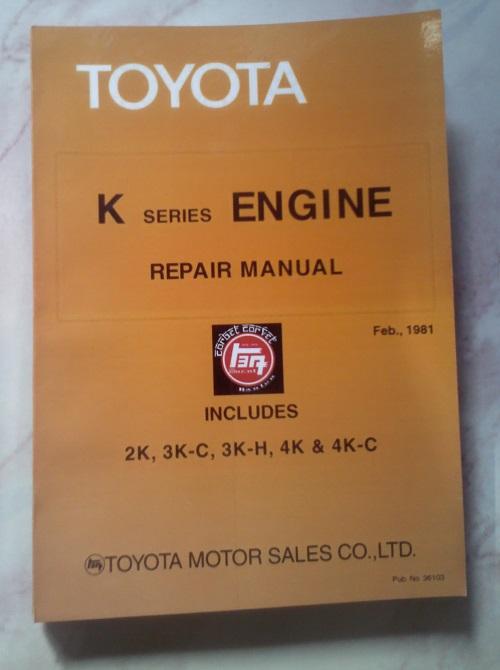 Jual Replika Buku Servis Untuk Mesin Toyota K Series  2k