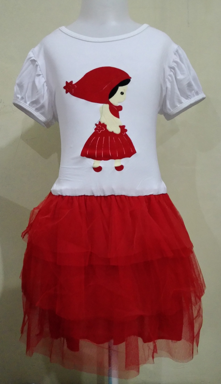 DRKD62 - Dress Anak White Red Girl Motif Murah