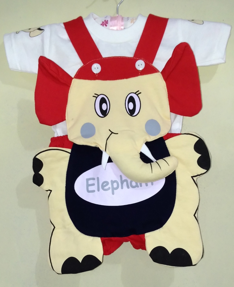 STKDK103 - Setelan Anak Kecil Jumpsuit Elephant Red Murah