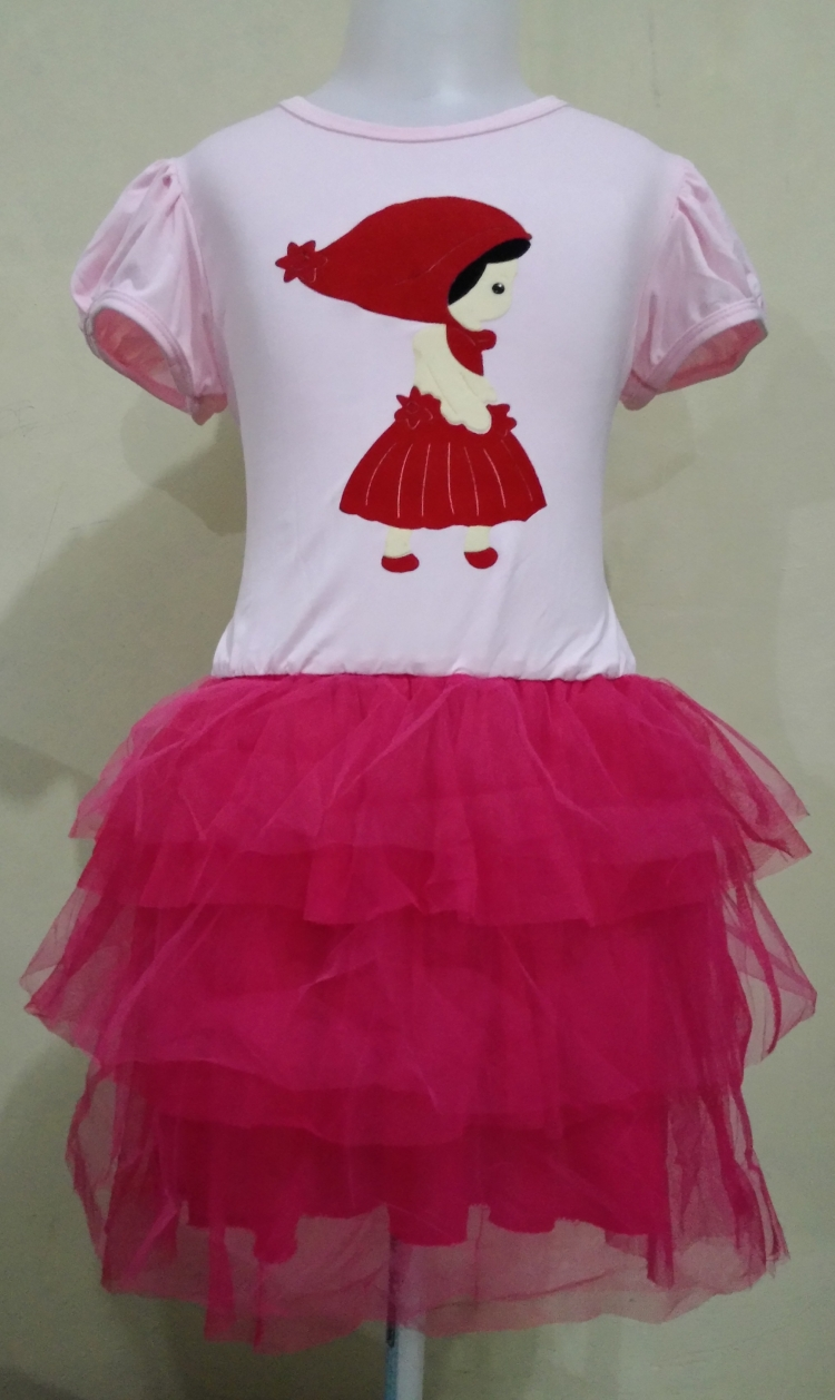 DRKD60 - Dress Anak Pink Red Girl Motif Murah