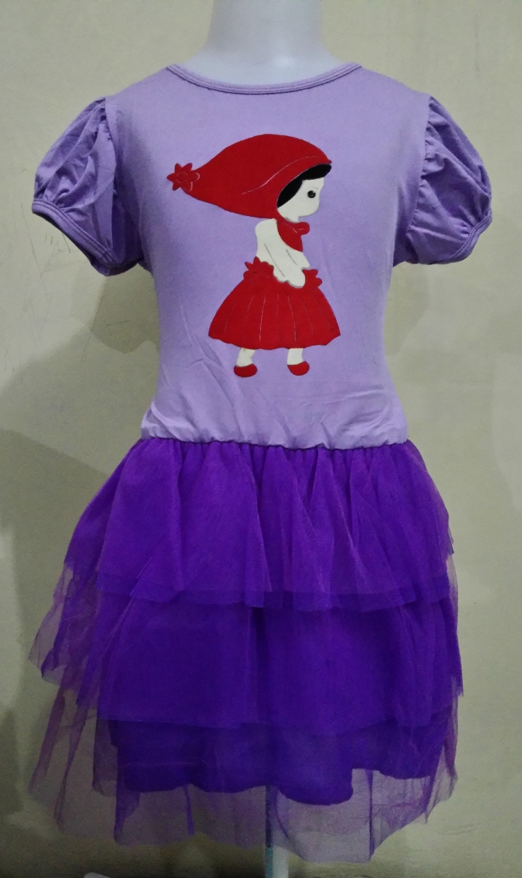 DRKD61 - Dress Anak Purple Red Girl Motif Murah
