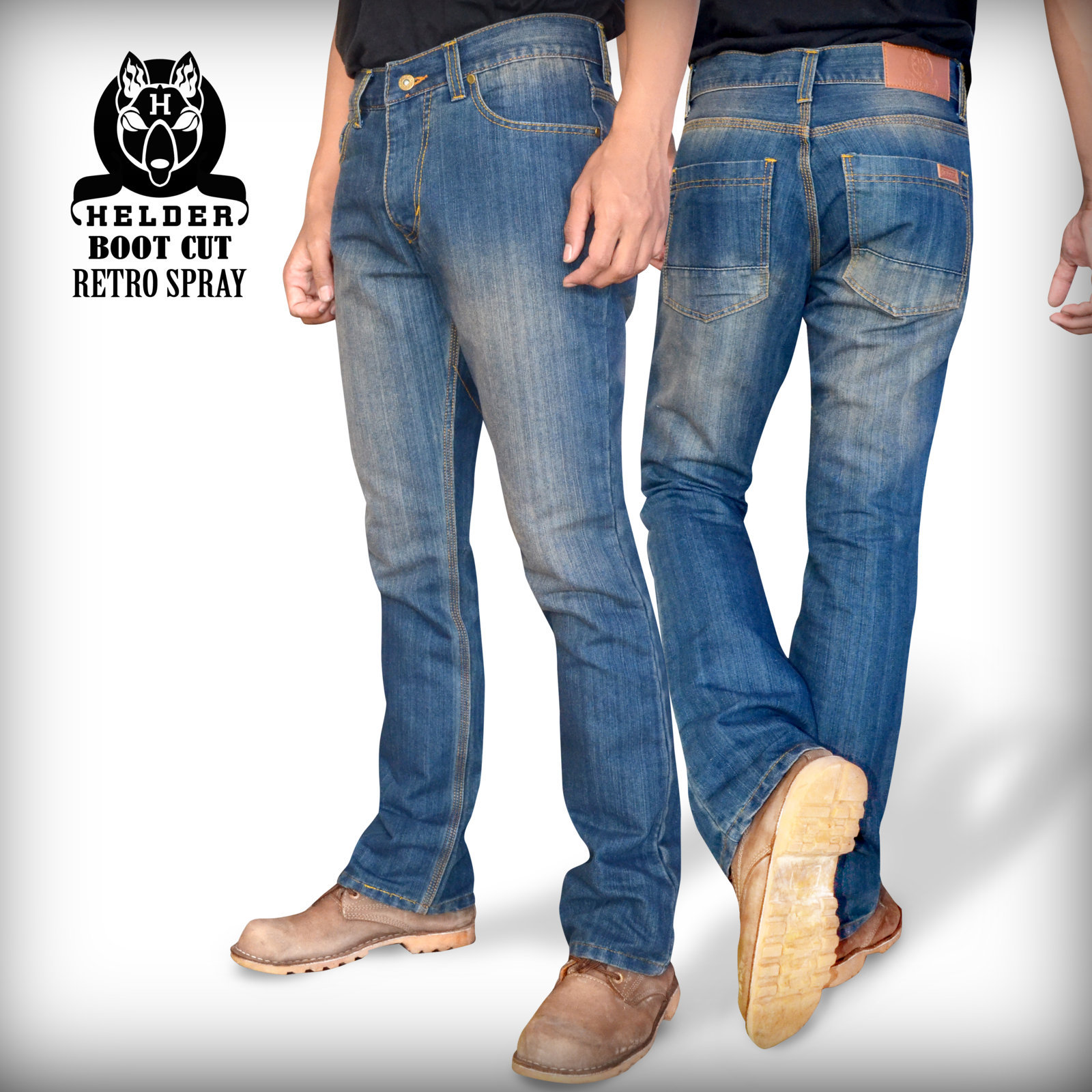 Jual Celana jeans boot cut retro spray - helder denim | Tokopedia