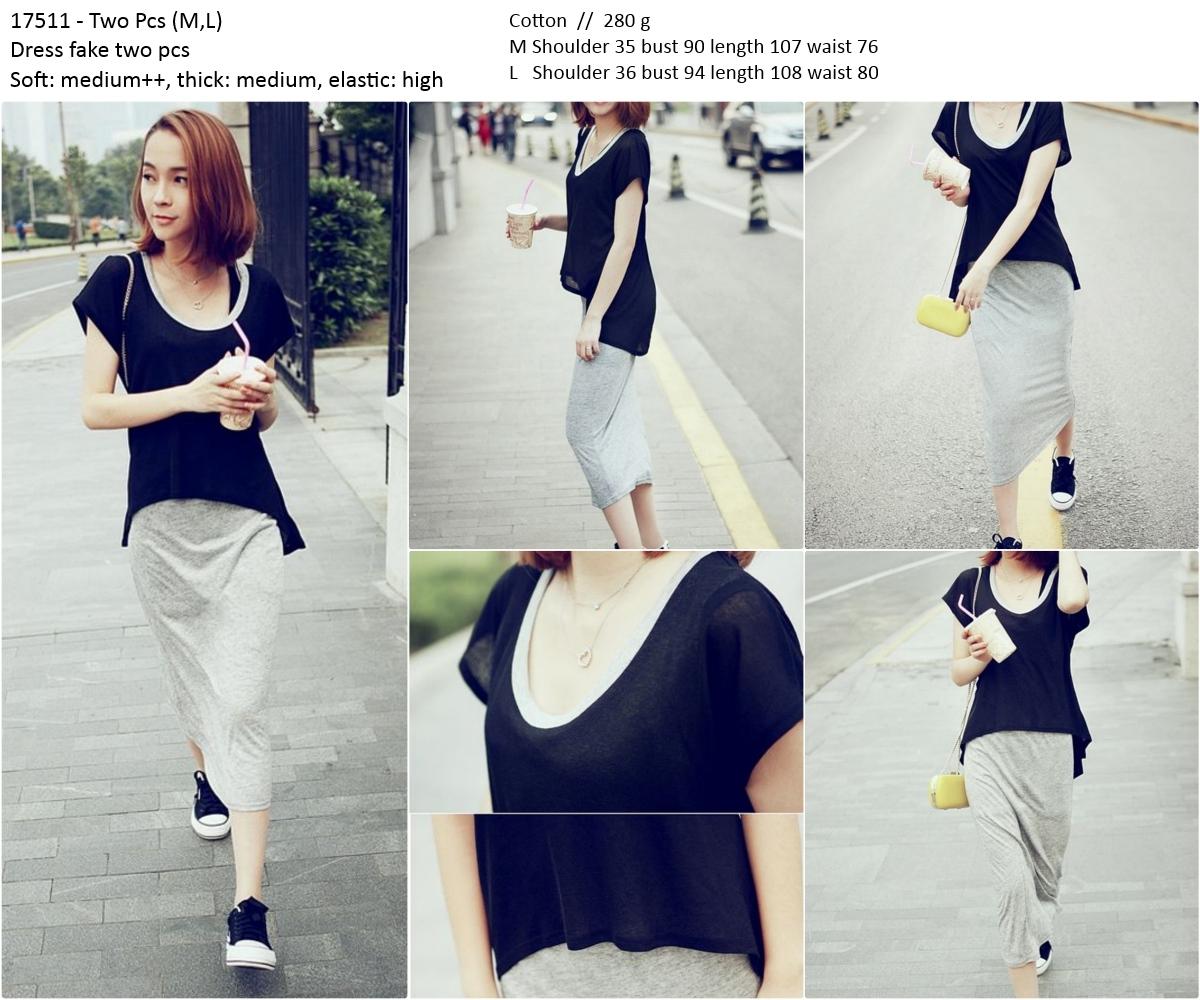 Jual 17511 Baju Terusan 2 Pcs Santai Casual Long Dress Wanita Korea