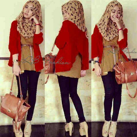 hijab ribbon red 4in1
