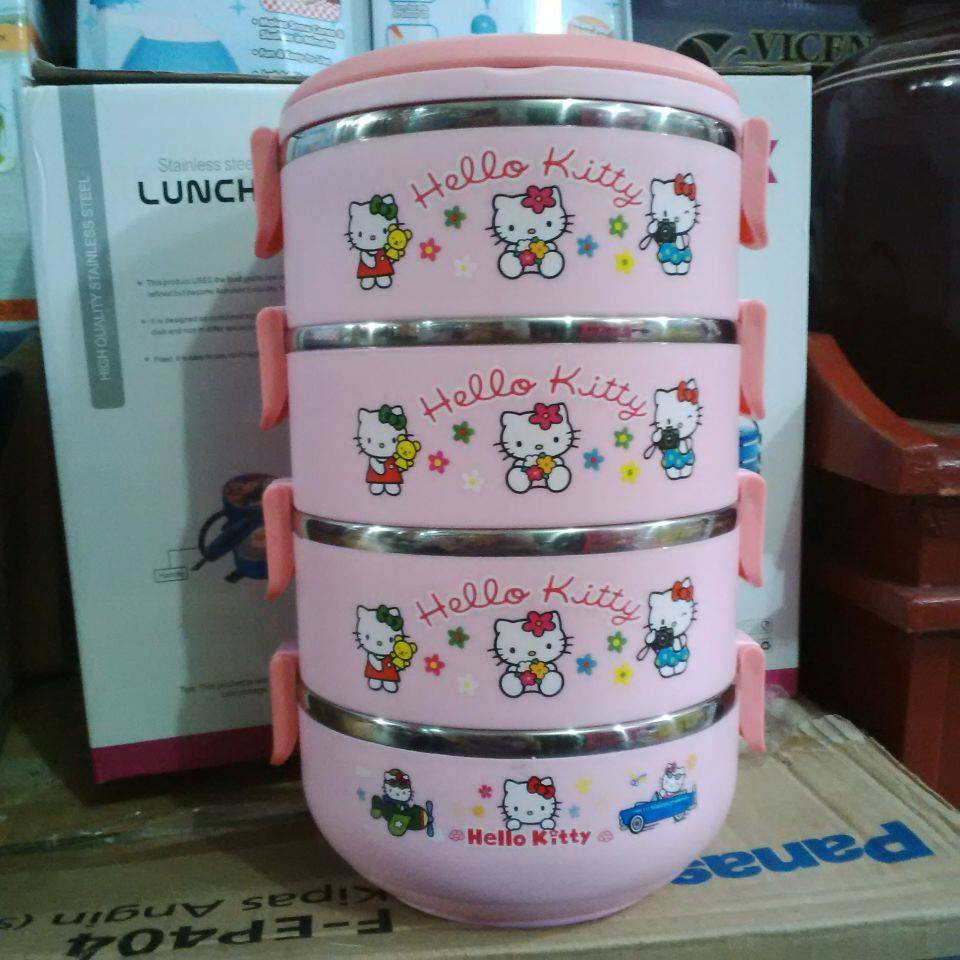 Jual rantang / stainless steel lunch box susun 4 karakter hello kitty - online serba ada