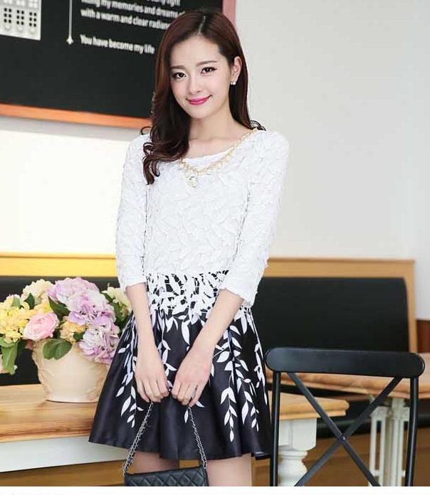Baju Dress Wanita Korea Lengan