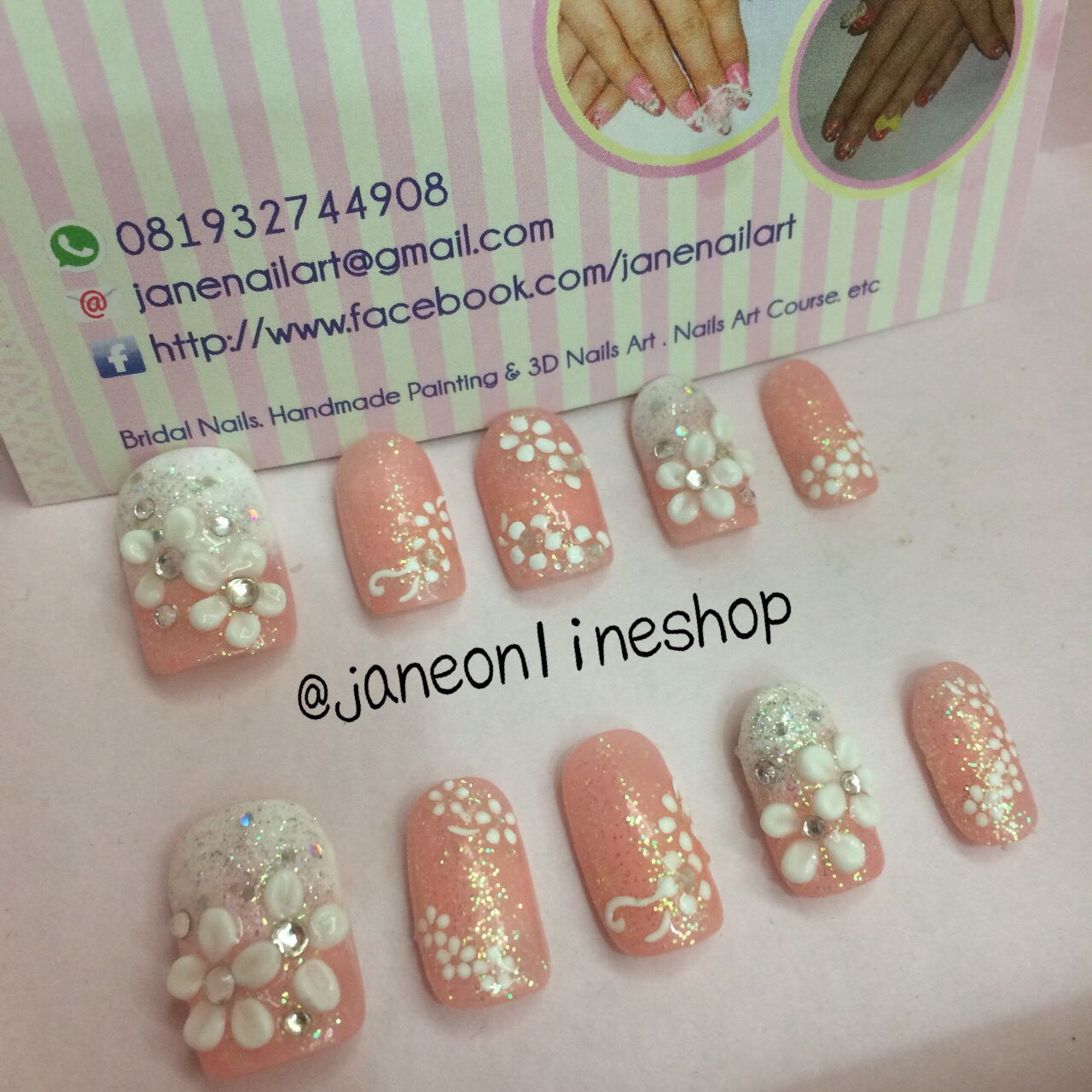 Wedding Party Fake Nails Red Flower Kuku Palsu Pernikahan 3d Beli Jbs A61 Nikah False Nailart Source Jual Nail Art Peach Jane Tokopedia