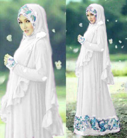 Hijab Syari Princess Nisah (Maxy+Brukat) ( edisi putih)