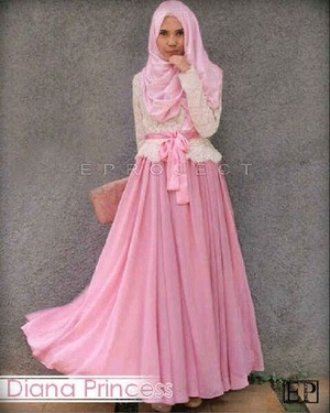 DIANA PRINCESS SET HIJAB PESTA PINK BLUE MOCCA TOSCA