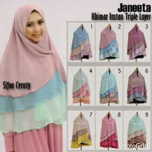 Hijab Khimar Janeeta Triple Layer