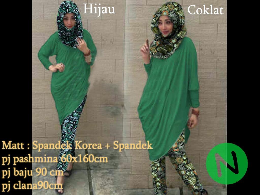 7348-pipik stelan hijab 3in1