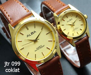 jam tangan alba couple / jtr 099 coklat