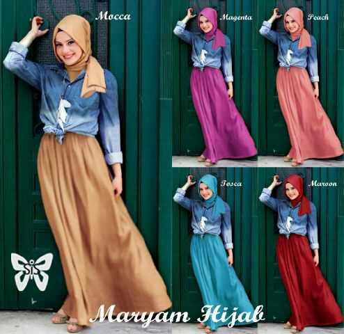 Maxi kemeja hijab spandek jeans wash maryam hijab 5 warna M