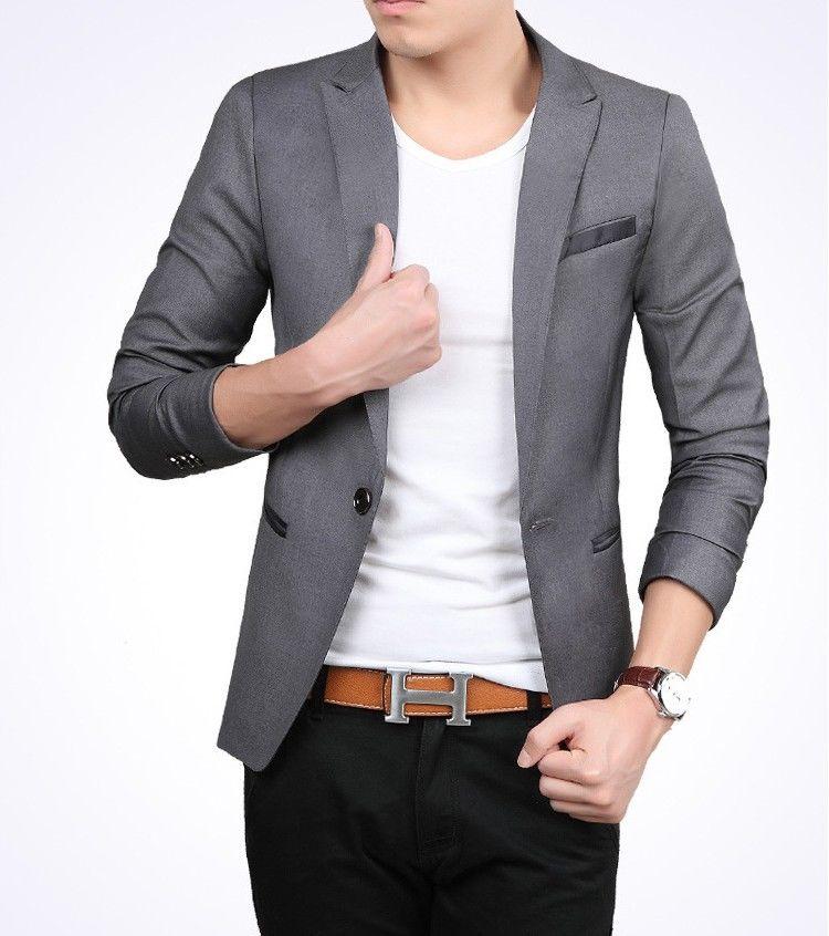 Jual Style Grey Blazer Jas Pria Cowok Slimfit Korea