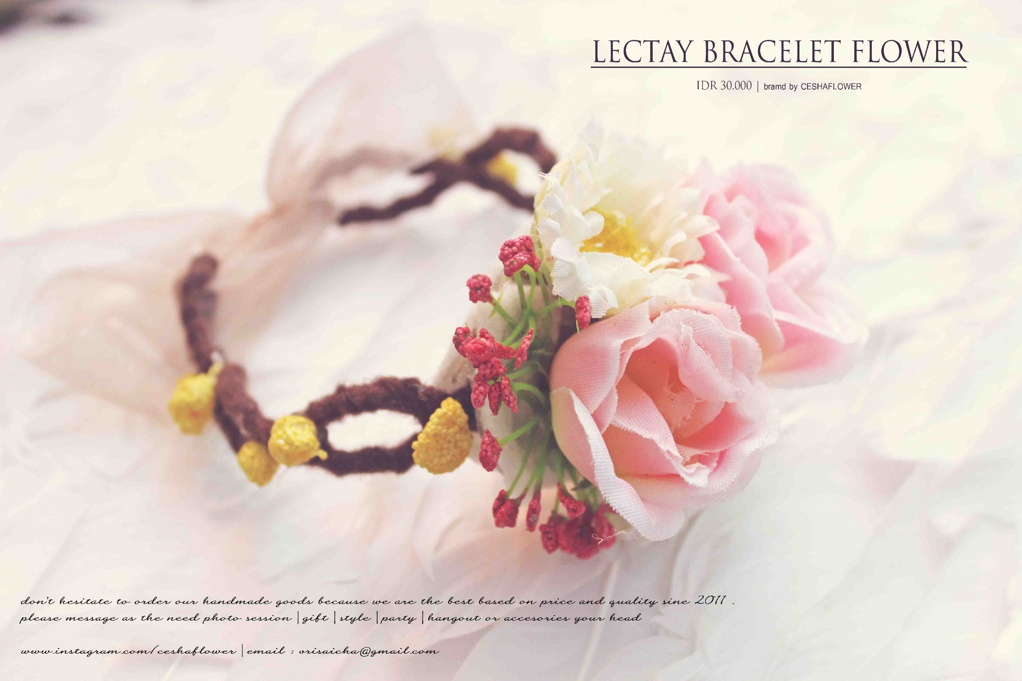Gelanh bunga daftar harga terlengkap indonesia terkini harga jual gelang gelang bunga bros hiasan jilbab flower crown shabby chic izmirmasajfo Image collections