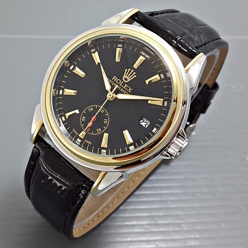 ROLEX OYSTER LEATHER BLACK SILVER GOLD (Jam tangan pria)