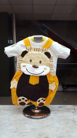 STKDK114 - Setelan Anak Kecil Jumpsuit Yellow Tiger Brown Murah
