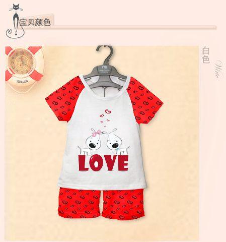 STKDK123 - Setelan Anak Kecil Cute 2Dog Red Love Murah