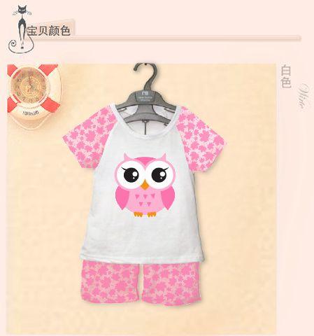STKDK124 - Setelan Anak Kecil Pink Owl Murah