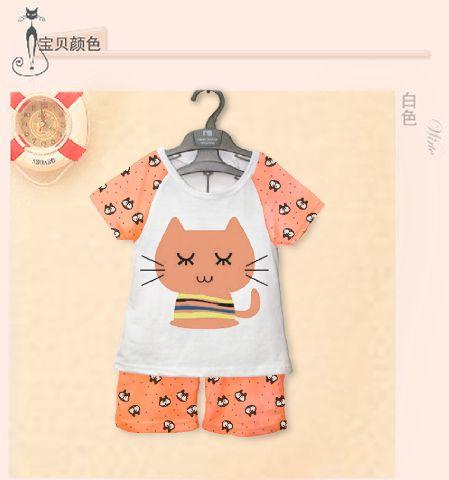 STKDK126 - Setelan Anak Kecil Peach Cat Close Eyes Murah