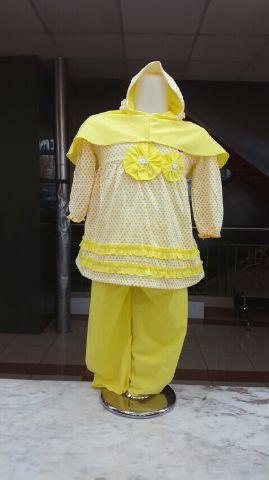 STKDK119 - Setelan Anak Muslim Yellow 2Flower Murah
