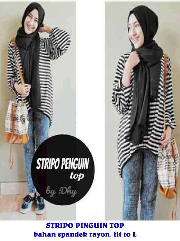 grosirb baju hijab murah stripo penguin