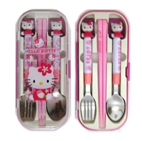 Jual Set Sendok Garpu Sumpit Peralatan Makan Karakter Kartun Hello Kitty HK Fairytale .