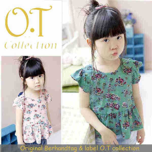 SALE blouse anak perempuan motif bunga-bunga (L253 mini flower kids)