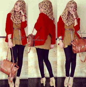 hijab ribbon red spandek (Cardi+inner+cln+pashmina, Free belt