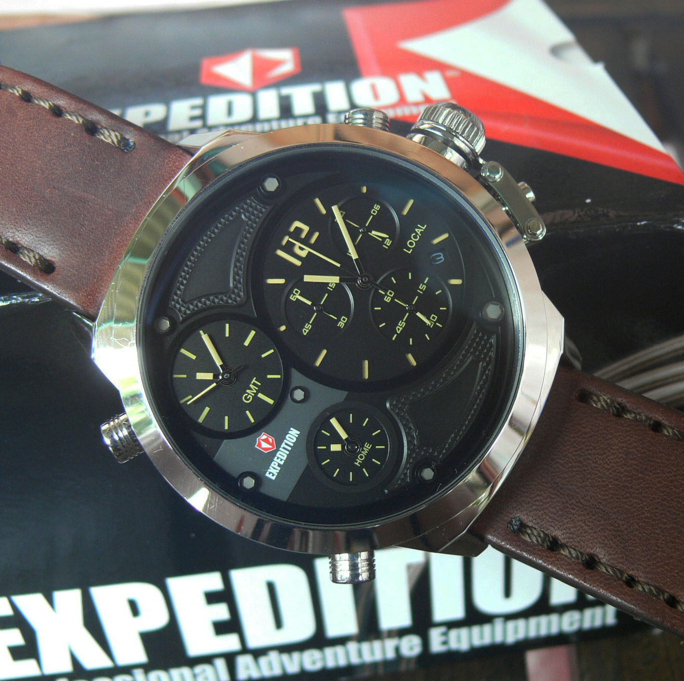 Expediton Triple Time Jam Tangan Pria Leather Strap Brown E6396 Tanga Expedition 6631 Hitam Original Jual E 6396 Chronograph Warungtjilik Tokopedia