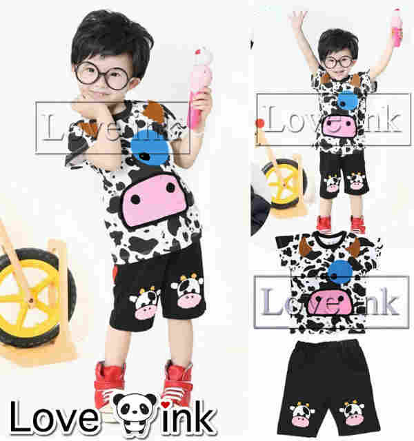 STKDL120 - Setelan Anak Laki Cow Full Print