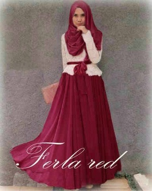 DIANA PRINCESS SET HIJAB PESTA FARA DRESS MAROON WHITE