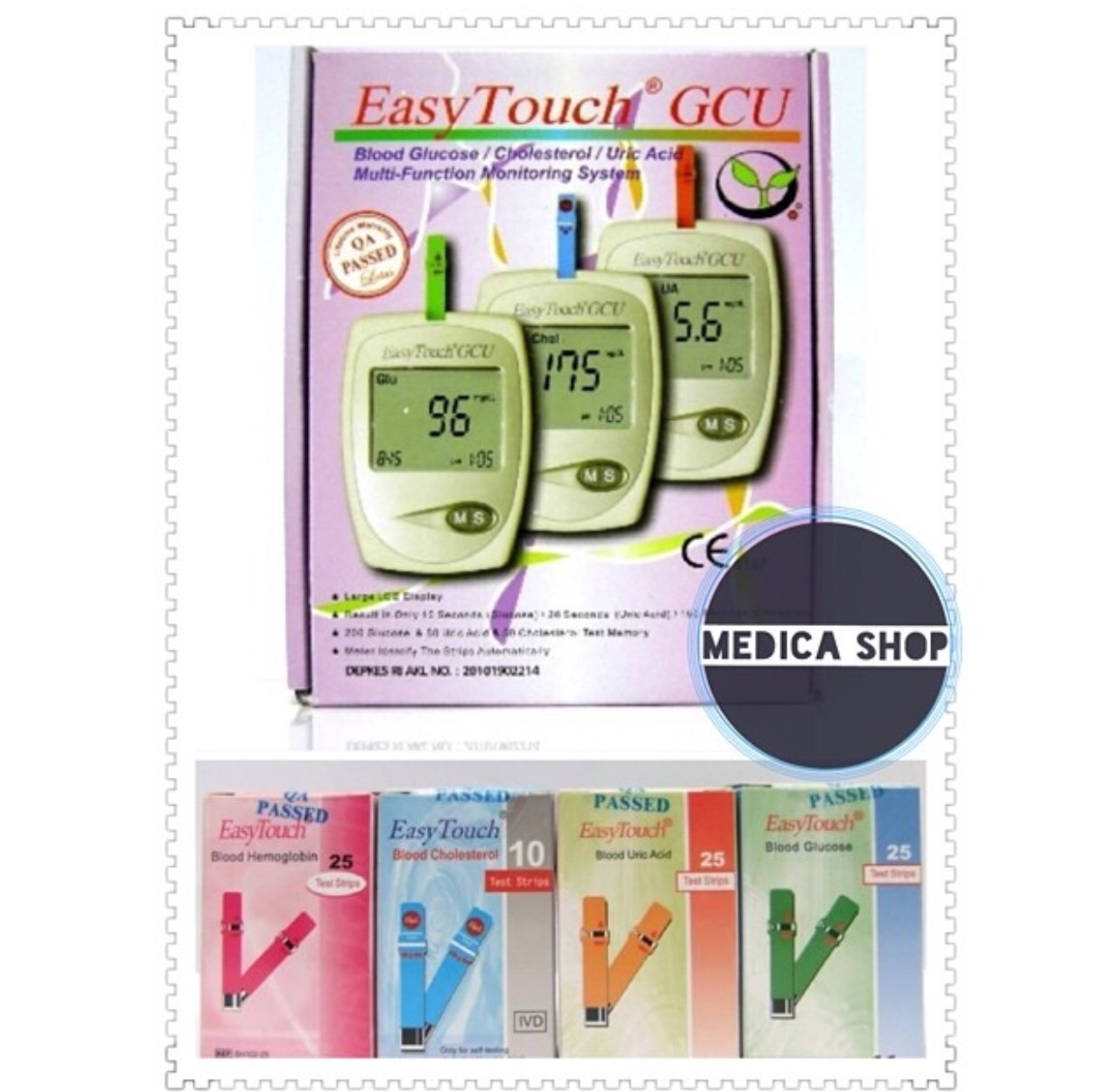 Easytouch Paket Strips Gula Darah 25 Asam Urat Strip Easy Touch Glukosa Kolestrol Source Jual