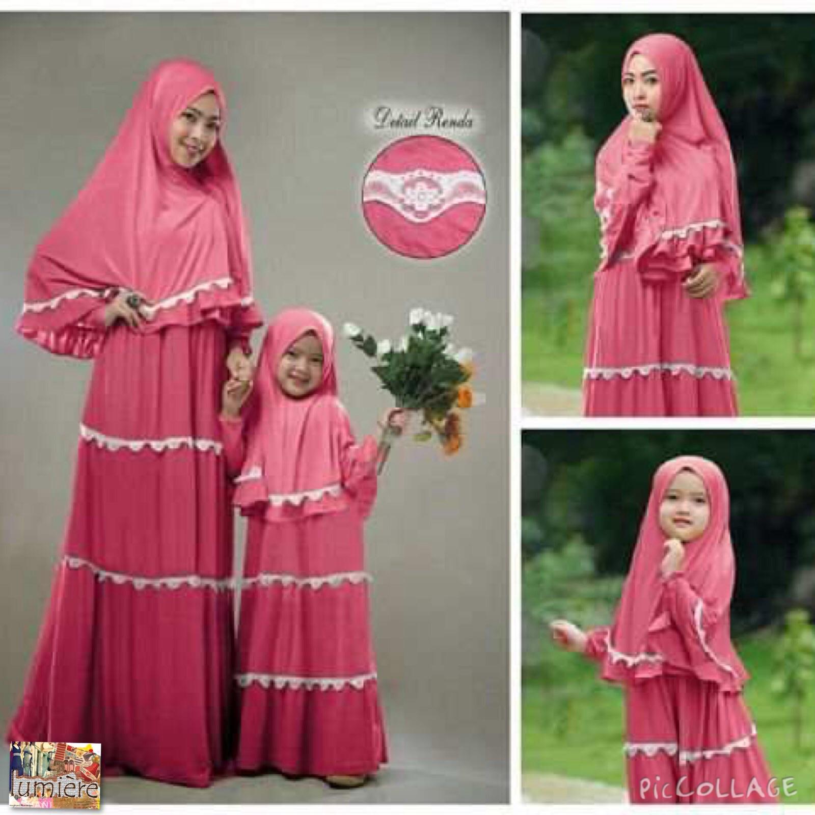 Jual baju muslim couple ibu anak gamis syar 39 i kaftan tunik Baju gamis couple ibu ayah anak