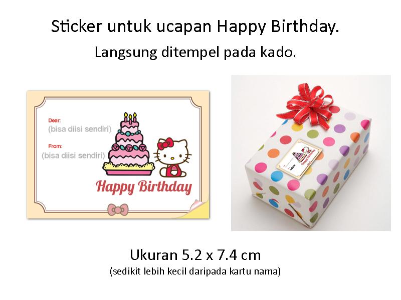 jual kitty sticker label ucapan happy birthday tempel kado
