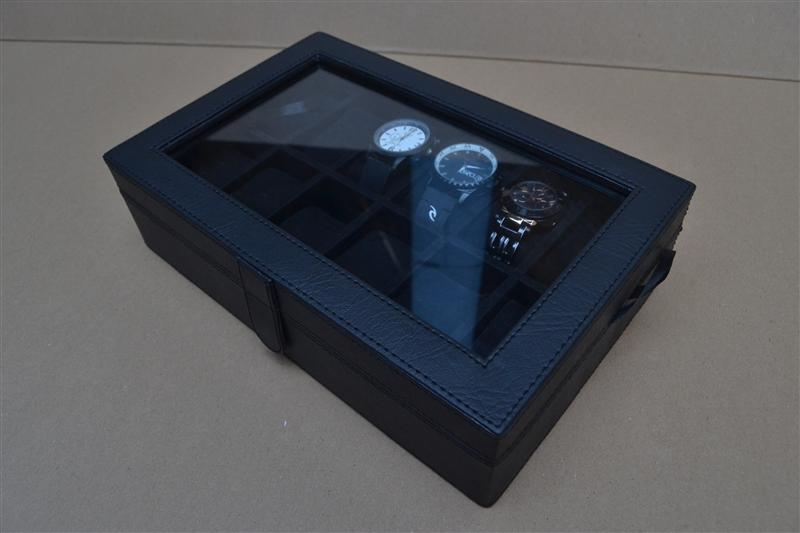 FULL BLACK WATCH BOX ORGANIZER FOR 12 WATCHES (box jam tangan isi 12)