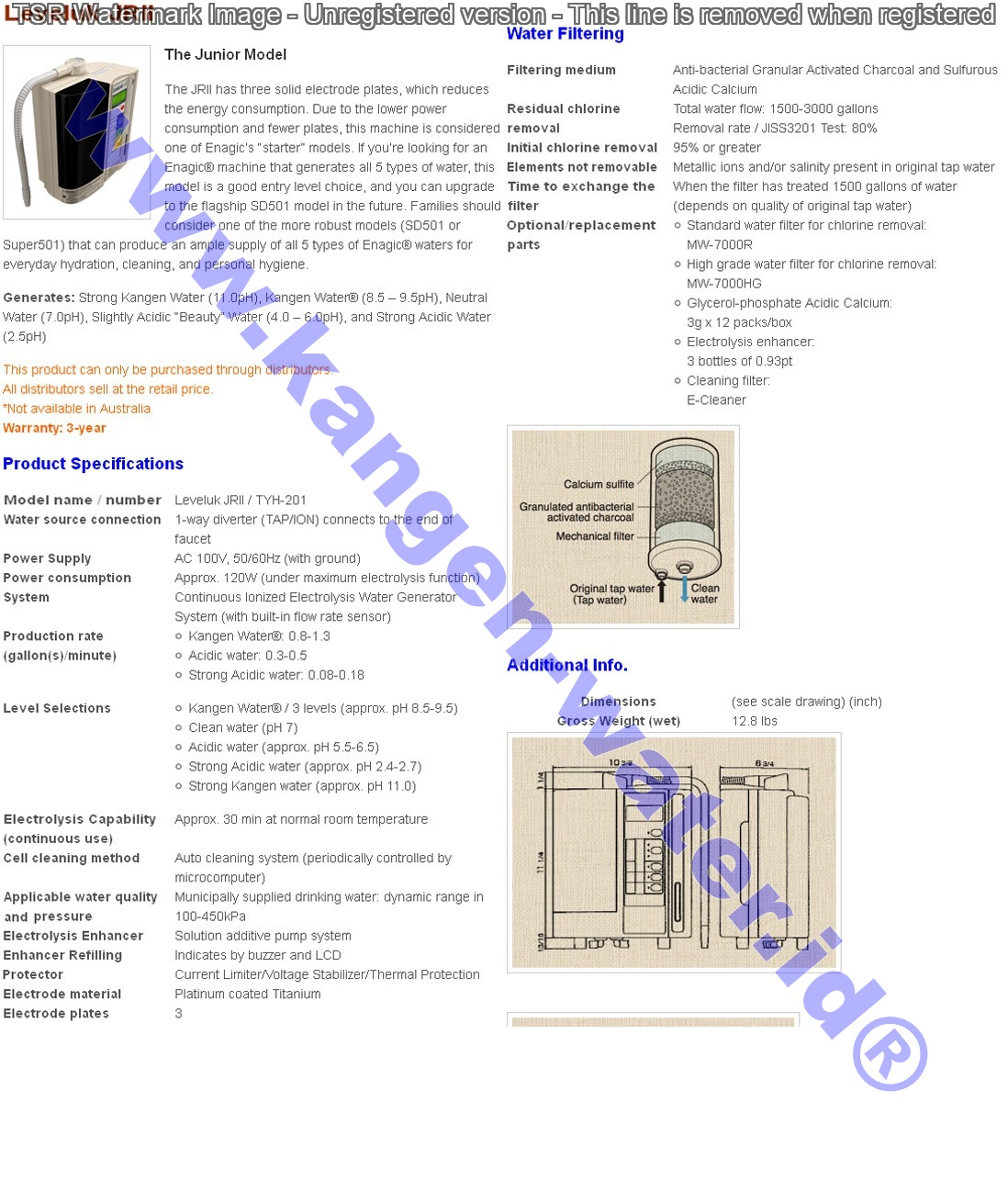 Enagic Leveluk Water Enagic Leveluk jr ii