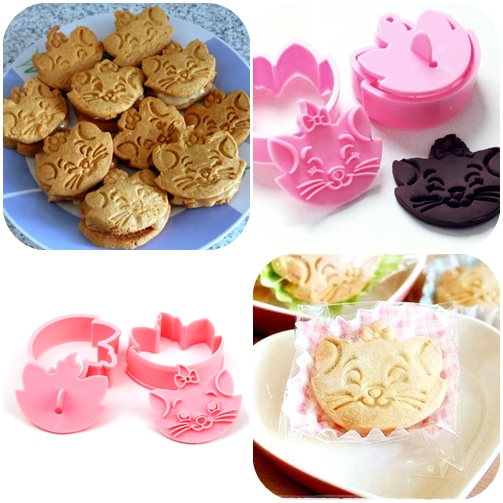 2in1 Cat Cookie Cookies Cutter Mold Cetakan Kue Roti Disney Cartoon