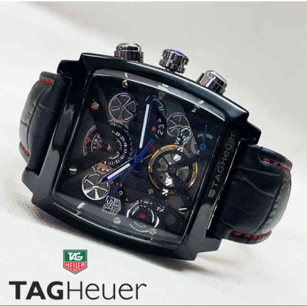 Jam Tangan Pria Tagheuer Monaco V4 Leather Full Black