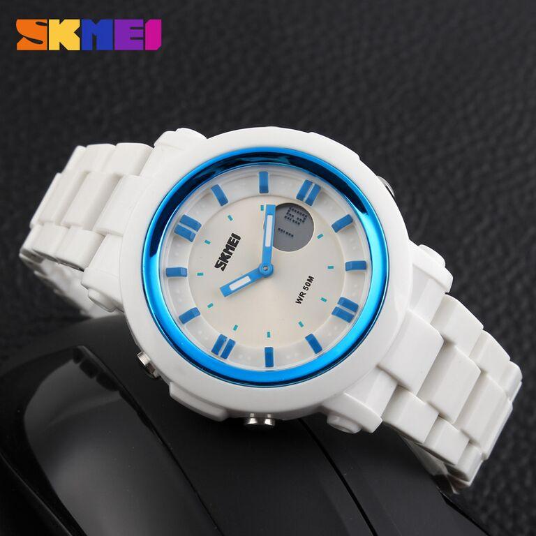 Jual SKMEI Casio Men Sport LED Watch Water Resistant 50m - AD1062 - White - Watch