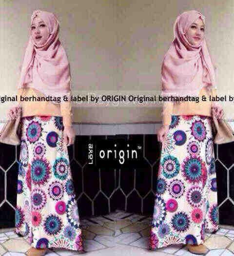 set hijab muslim 3in1 blouse+rok bunga+pasmina (hijab diamond)