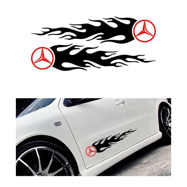 Jual sticker logo flame mercedes benz diskon termurah for Mercedes benz logo decals stickers