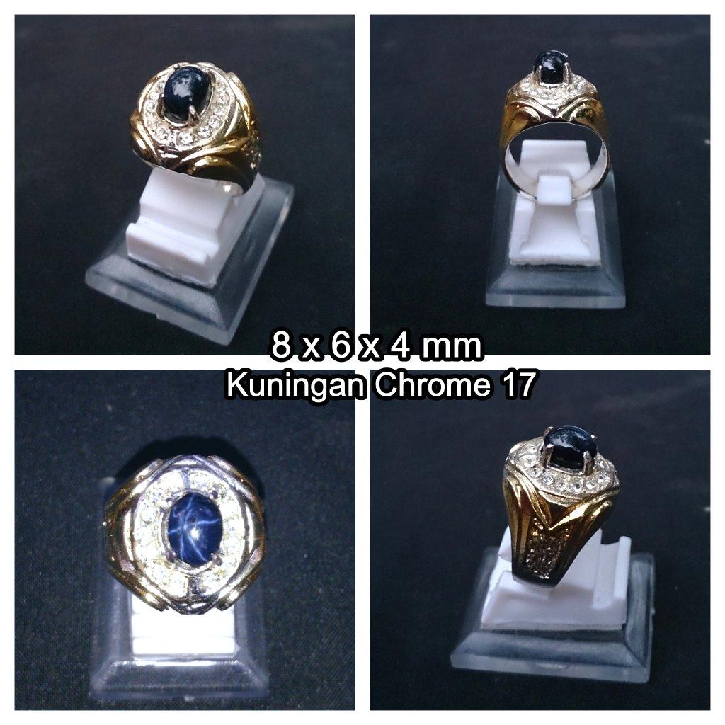 harga Cincin Batu Blue Safir Star + Ring Kuningan Chrome (BSKS01)) Tokopedia.com