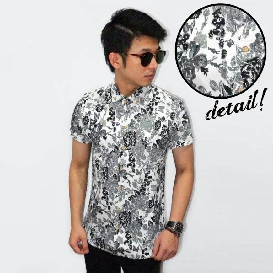 Jual Kemeja Pria Baju Batik Formal Bunga Putih Hitam