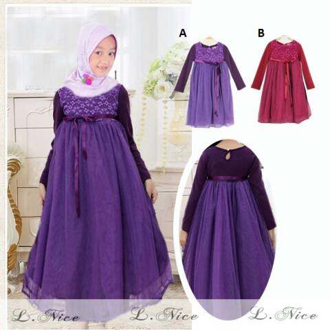 Dress Gamis Hijab Anak Brokat Tile Purple